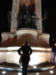 Standing in front of Ataturk's statue after luxuriating in a Turkish hamam, my last night in Istanbul.