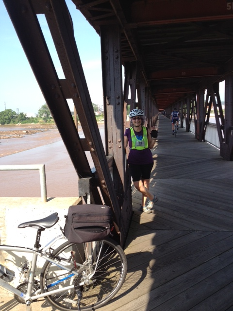 Riding across the Arkansas River via the Tulsa bike path