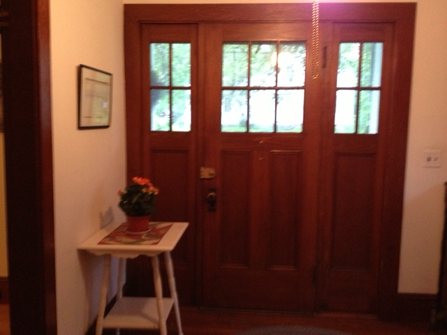 Front door in our arts- and-crafts-design Southwest Harbor home. I'm only the third owner since it was built around 1930.