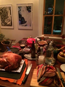 Magnificent Thanksgiving table set by Brook and Gian, with a view of the NYC skyline out the window