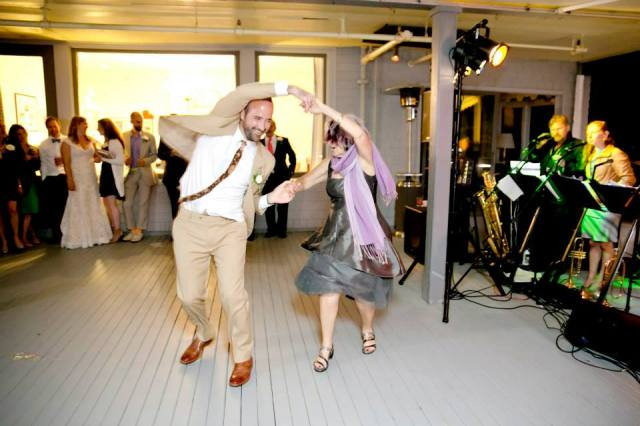 Rockin' out with the groom...