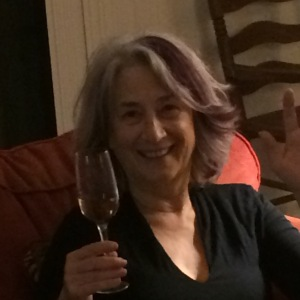 New Year's Eve at home, drinking prosecco from lovely glasses brought from Vienna for my 60th birthday.
